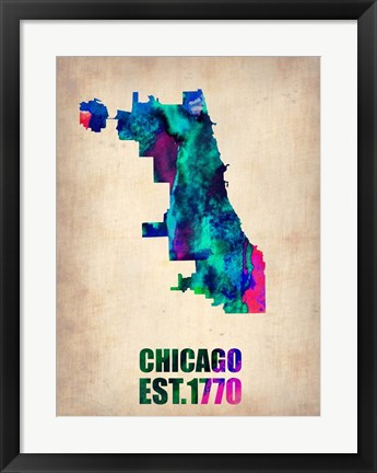 Framed Chicago Watercolor Map Print