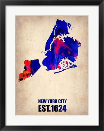 Framed New York City Watercolor Map 1 Print