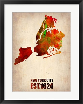 Framed New York City Watercolor Map 2 Print