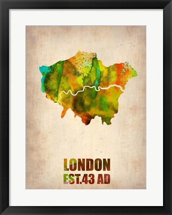 Framed London Watercolor Map 1 Print