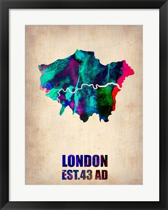 Framed London Watercolor Map 2 Print