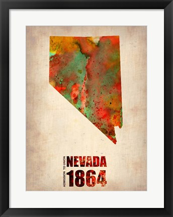 Framed Nevada Watercolor Map Print