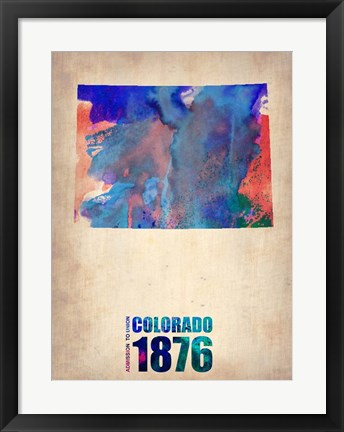 Framed Colorado Watercolor Map Print