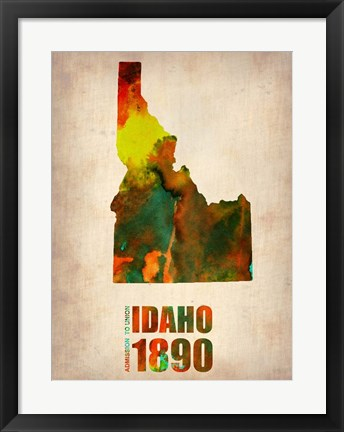 Framed Idaho Watercolor Map Print