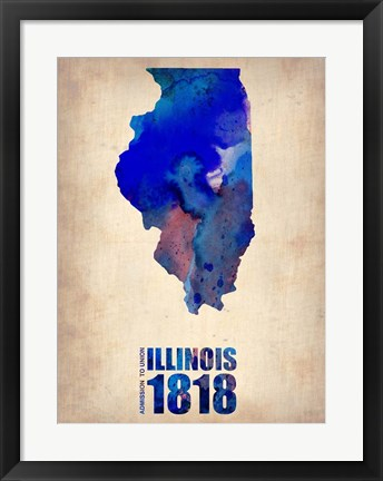 Framed Illinois Watercolor Map Print