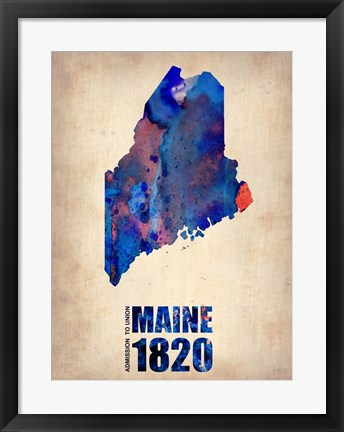 Framed Maine Watercolor Map Print