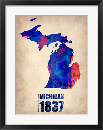 Framed Michigan Watercolor Map Print