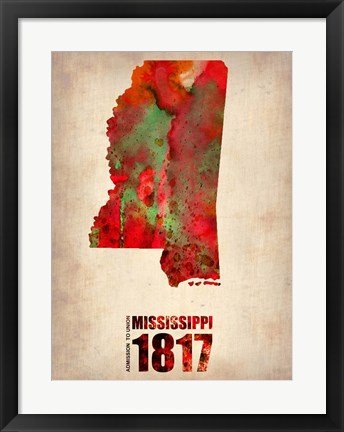 Framed Mississippi Watercolor Map Print