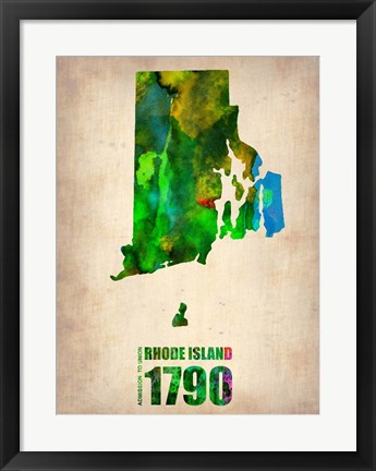Framed Rhode Island Watercolor Map Print