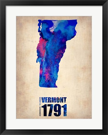 Framed Vermont Watercolor Map Print