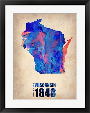 Framed Wisconsin Watercolor Map Print
