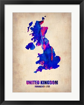 Framed United Kingdom Watercolor Map Print