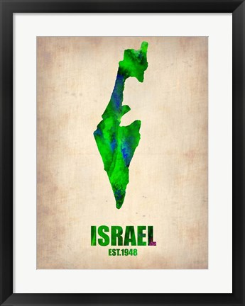 Framed Israel Watercolor Map Print