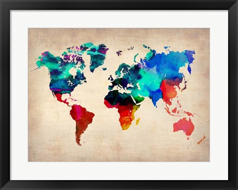 Framed World Watercolor Map 1 Print