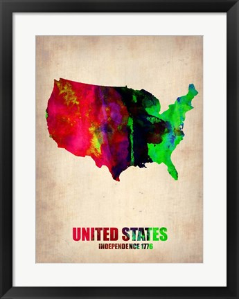 Framed USA Watercolor Map 2 Print