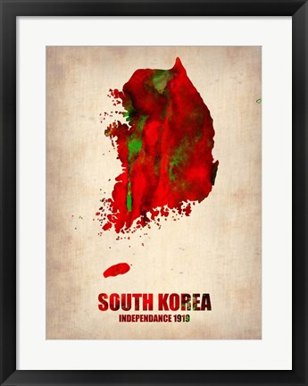 Framed South Korea Watercolor Map Print