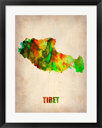 Framed Tibet Watercolor Map Print
