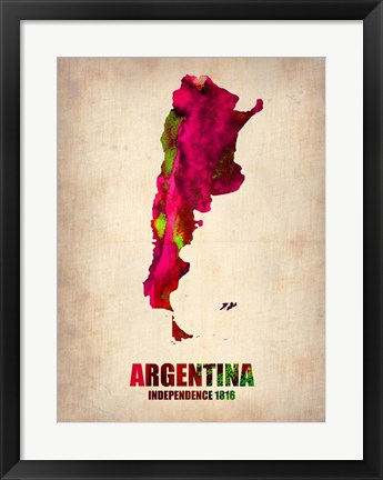 Framed Argentina Watercolor Map Print