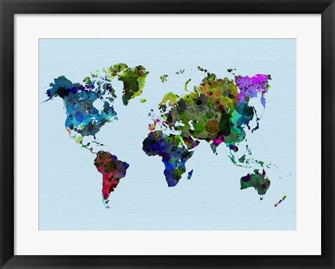 Framed World Watercolor Map 3 Print