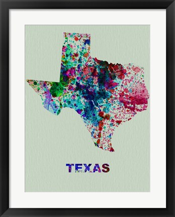 Framed Texas Color Splatter Map Print