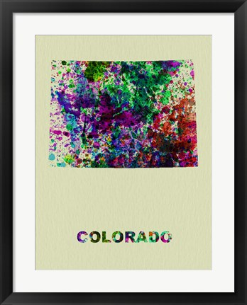 Framed Colorado Color Splatter Map Print