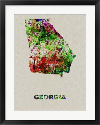 Framed Georgia Color Splatter Map Print