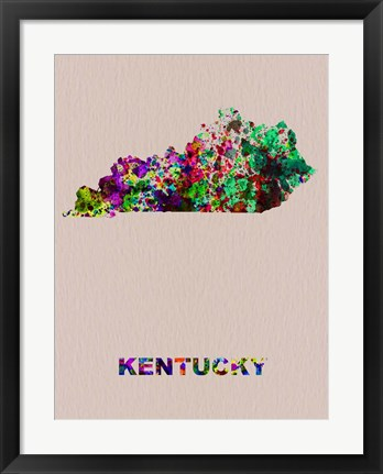 Framed Kentucky Color Splatter Map Print