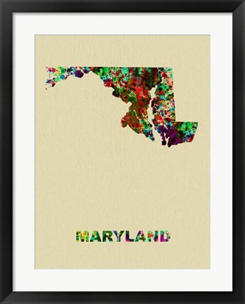 Framed Maryland Color Splatter Map Print