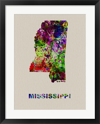 Framed Mississippi Color Splatter Map Print