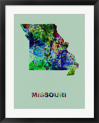 Framed Missouri Color Splatter Map Print
