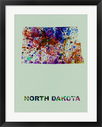Framed North Dakota Color Splatter Map Print