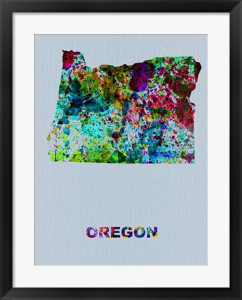 Framed Oregon Color Splatter Map Print