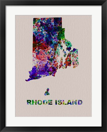 Framed Rhode Island Color Splatter Map Print