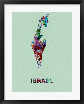 Framed Israel Color Splatter Map Print