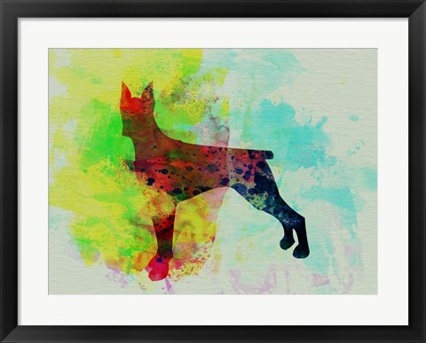 Framed Doberman Pinscher Watercolor Print