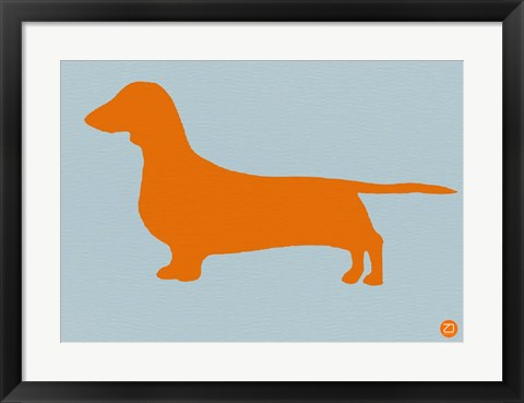 Framed Dachshund Orange Print