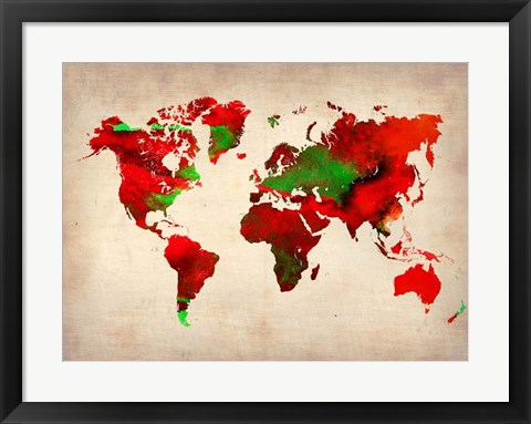 Framed World Watercolor Map 4 Print
