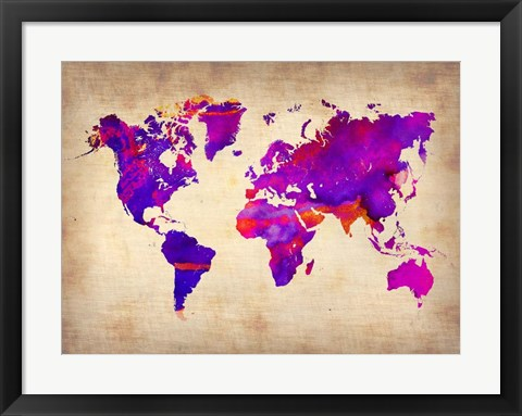 Framed World Watercolor Map 5 Print