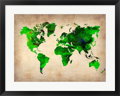 Framed World Watercolor Map 6 Print