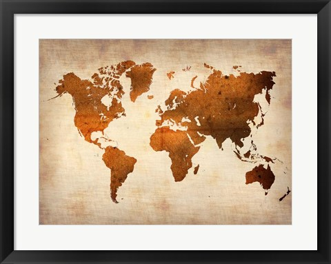 Framed World  Map 7 Print