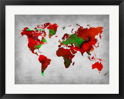 Framed World Watercolor Map 11 Print