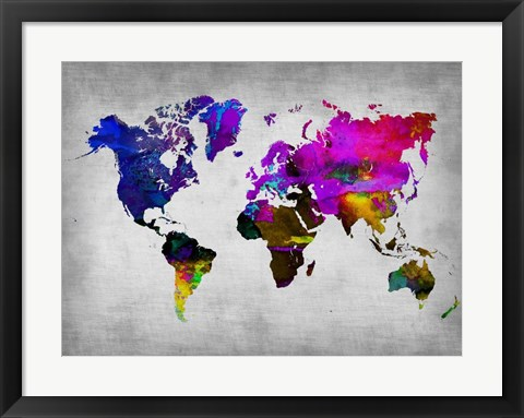 Framed World Watercolor Map 13 Print