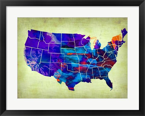 Framed USA Watercolor Map 5 Print