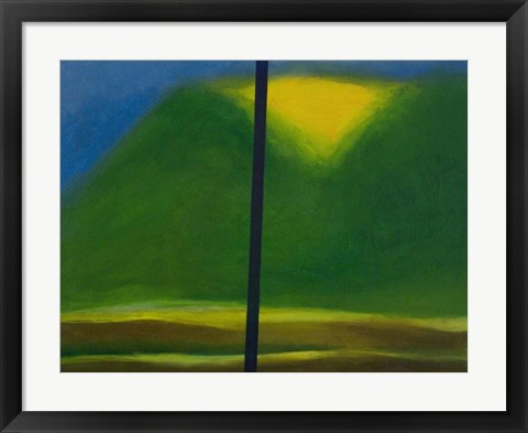 Framed Green Mountain with Yellow Print