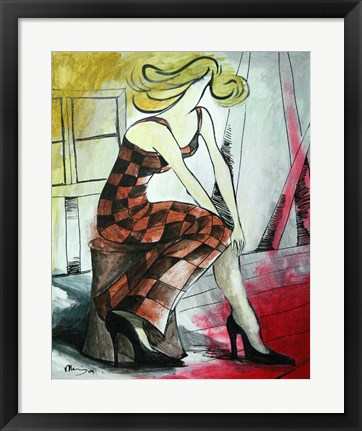 Framed Checkered Woman Print