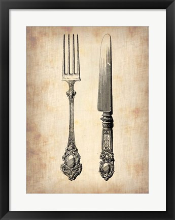 Framed Antique Knife and Fork Print