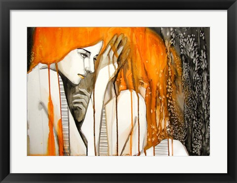 Framed Girl with Orange Hair Print