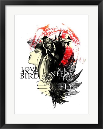 Framed Love Needs To Fly Print