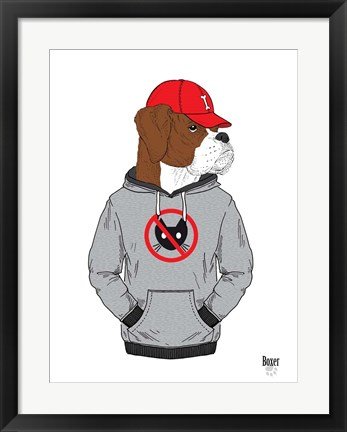 Framed Boxer Dog In City Style Print