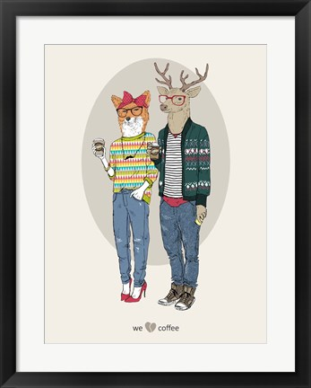 Framed Fox Girl And Deer Boy Hipsters Print